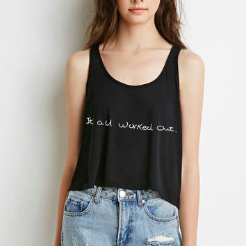 "One Direction ""It All Worked Out / Niall Horan Handwriting"" Boxy, Cropped Tank Top"