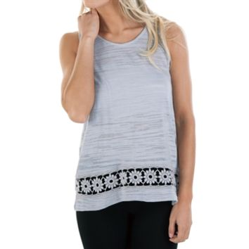 Chance or Fate Juniors Burnout Knit Tank with Embroidery Hem Detail at Von Maur