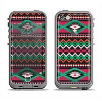 The Vector Green & Pink Aztec Pattern Apple iPhone 5c LifeProof Fre Case Skin Set