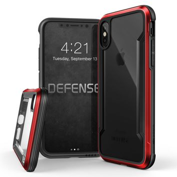 iPhone X Case, X-Doria Defense Shield Series - Military Grade Drop Tested, Anodized Aluminum, TPU, and Polycarbonate Protective Case for Apple iPhone X, [Red]