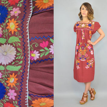 vintage 1970's bohemian MEXICAN EMBROIDERED hippie gypsy floral handmade artisan OAXACAN caftan maxi dress, extra small-small