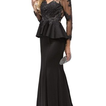 Dancing Queen - 9765 Attractive Lace Beaded Bodice Long Prom Dress