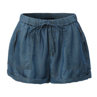 LE3NO Womens Lightweight Chambray Tencel Shorts with Pockets (CLEARANCE)