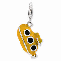 925 Sterling Silver 3D Enameled Yellow Underwater Submarine Charm