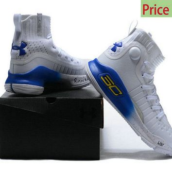How To Buy Under Armour Stephen Curry 4 White Royal Blue Autograph Sneakers Mens Basketball Shoes sneaker