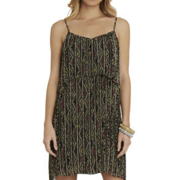 Pleated Flounce Dress in Tan/Brown/Yellow/Orange - BCBGeneration