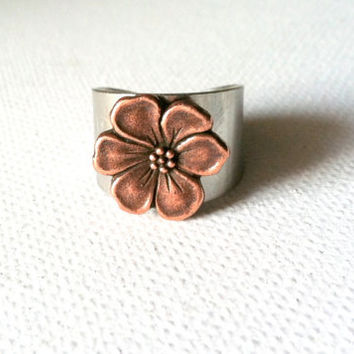 Copper Apple Blossom Ring by Jennasjewelrydesign on Etsy