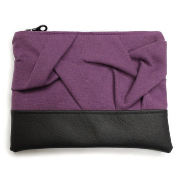 Violet Clutch Bag, Origami Clutch Purse, Purple Purse, Smocked Bag, Evening Clutch, Violet Handbag, Fabric Leather Bag, Pleated Purse