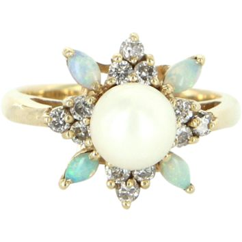 Vintage Opal Diamond Cultured Pearl Cocktail Ring 14 Karat Yellow Gold Estate Fine