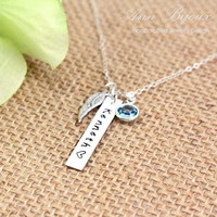 Personalized Sterling Silver Bar Necklace, Hand Stamped Jewelry, Sterling Silver Angel Wing, Mother & Daughter Necklace, Custom Necklace