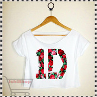 one direction shirt one direction crop top one direction crop tee croped top croped tee 1D shirt 1D Tshirt  design floral flowers 1D rose 2