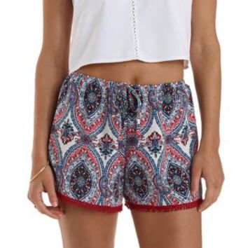 Red Multi Pom-Pom Trim Printed High-Waisted Shorts by Charlotte Russe