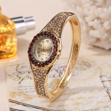 Womens Luxury Band Hollow Out Bangle Crystal Quartz Bracelet Watch Jewelry Charm