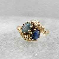 Antique Victorian Ring,  Chrysoberyl and Star Sapphire Ring, Toi et Moi Ring, Two Stone Bypass Ring 3DL8LT-R