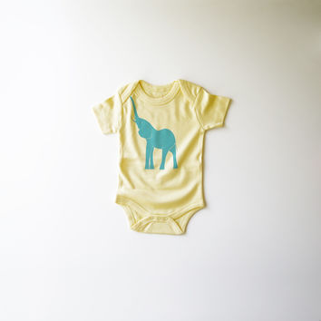 Elephant Organic Bodysuit in Yellow and Turquoise