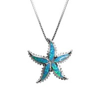 "Sterling Silver Starfish Necklace Pendant with Synthetic Blue Opal and 18"" Box Chain"