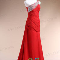 One shoulder Beach floor-length red chiffon with crystal beads evening dress prom dress