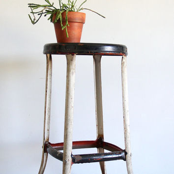 vintage metal stool / industrial furniture, home decor