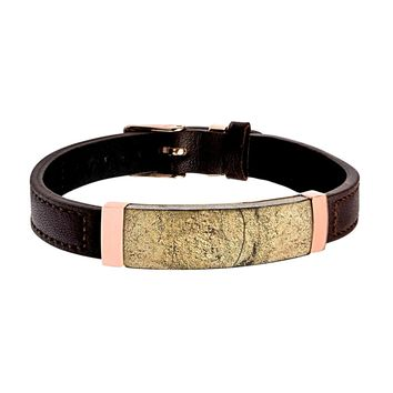 "Chalcopyrite Brown Leather ID Bracelet 9.5"" Adjustable"