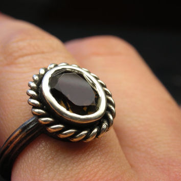 Smokey quartz bohemian style ring in sterling silver - Made using real antique tools - Boho luxe, gypsy, festival, rustic,