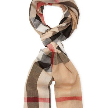 "Burberry Wool & Cashmere Check Scarf, 79"" x 18"" Color: Camel Check"