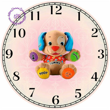 """Learning Bear Art - -DIY Digital Collage - 12.5"""" DIA for 12"""" Clock Face Art - Crafts Projects"""