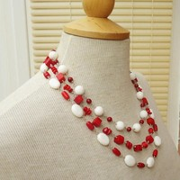 White and Red Coral Necklace, Multistrand Coral Necklace, Red and White Statement Necklace