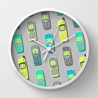 Vintage Cellphone Pattern Wall Clock by Chobopop