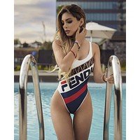 FENDI Newest Fashion Sexy Print Vest Style Women Swimsuit One Piece Bikini Bathing