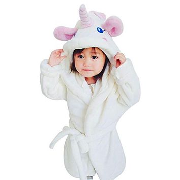 Bathrobes for Girls Unicorn Nightgown Baby Boys Velvet Robes Kids Cartoon Pajamas Children Pokemon Bath Robe Home Wear Clothing