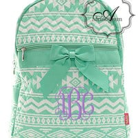 Monogrammed Mint Quilted Aztec Backpack