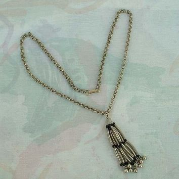 Tassels and Tubes Egyptian Revival Style Pendant Necklace Vintage Jewelry