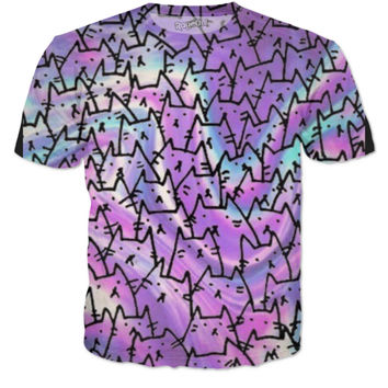 All over cat tee