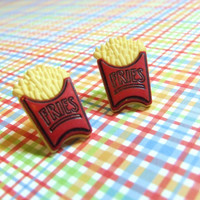 Frend Fries Stud Earrings -  Miniature Food Post Earrings - Red Yellow - Junk Food - Plastic Earrings - Hypoallergenic Nickel Free