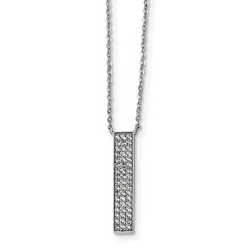 925 Sterling Silver CZ Bar Necklace