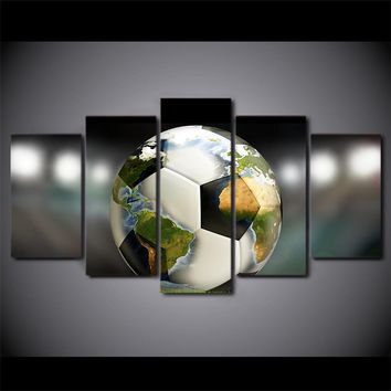 Football Soccer World Wall Art Canvas Panel Picture Print 5 Pcs Pieces Panels