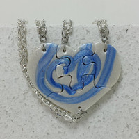 Best Friend Heart Shaped Puzzle Necklaces Set of 4 Interlocking Necklaces Blue and Pearl swirl