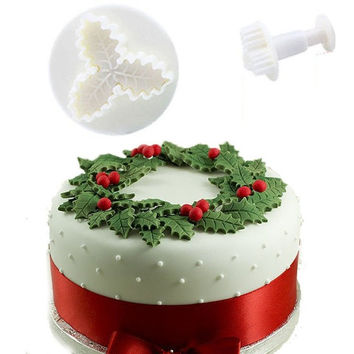 2Pcs Holly Leaf Christmas Cake Decorating Plunger Cutter Mold Fondant Cookie Tools = 1946656260