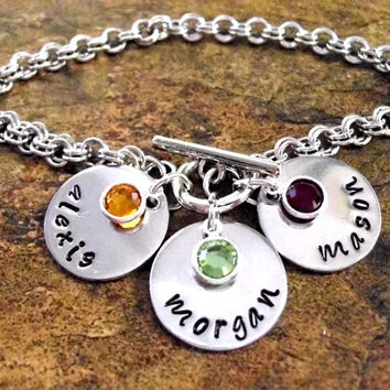 Mommy Bracelet, Name Bracelet, Personalized Jewelry, Hand Stamped Jewelry, Toggle Clasp Personalized Bracelet, 3 discs