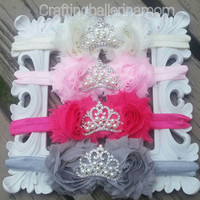 Baby headband, Infant Headband, Newborn Headband, Princess Headband, Baptism headband, Birthday headband, tiara headband, shabby flower