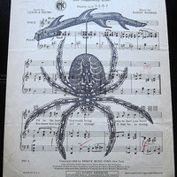 Hanging Spider Art Print on Vintage Music Sheet