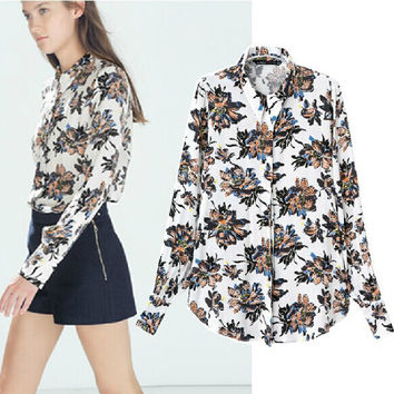 Women's Fashion Floral Print Slim Long Sleeve Tops Shirt [5013323076]