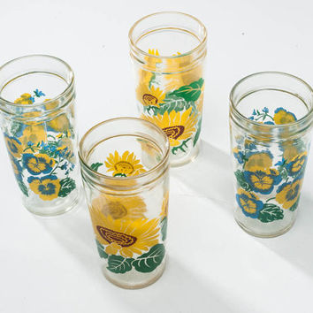 1960s Glass Drinking Glasses: Vintage Anchor Flower Glasses Set of Four, Sunflowers Pansies, 16 Oz Tumblers, Summer Serving, Party Barware