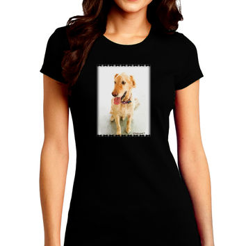 Golden Retriever Watercolor Juniors Crew Dark T-Shirt