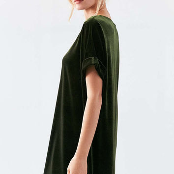 Silence + Noise Velvet Boat-Neck Mini Dress - Urban Outfitters