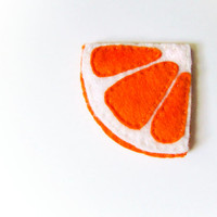 Felt orange bookmark, orange, white, summer