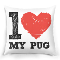 I Love My Pug Pillow - I Love Dogs Pillow