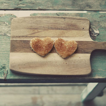 Kitchen photograph- teal, rustic, french country, food, toast, heart, love, still life photo, cottage wall art, kitchen decor, fine art