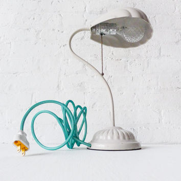 Retro White Shell Lamp - Vintage Light - Aqua Net Color Cord - Ornate Diamond Light Bulb - Vintage Socket Pull Chain - Unique Home Decor