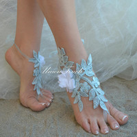 Elegant Ivory Lace Wedding Shoes Lace Barefoot Sandals Wedding beach wedding barefoot sandals Beach Shoes Beach Sandals France Lace Anklet